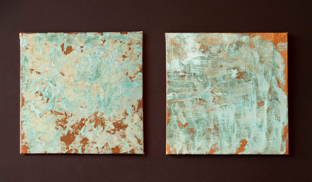 Two Copper Patina Effect Painted Wall Canvases complete with an oxidised effect.