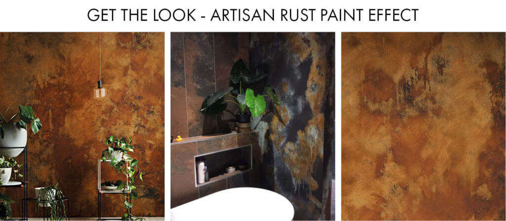A collage of Craig & Rose Artisan Rust Effect Paint used in interior schemes.