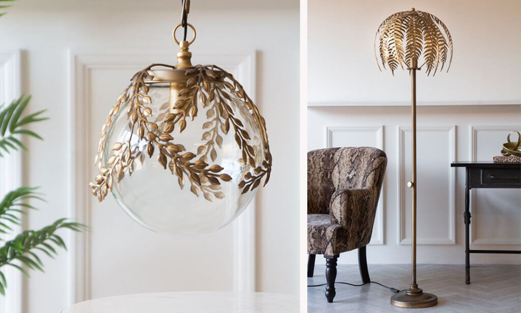 Image of the Ornate Globe Pendant Ceiling Light With Brass Leaf Detailing and the Fern Leaf Palm Tree Style Floor Lamp