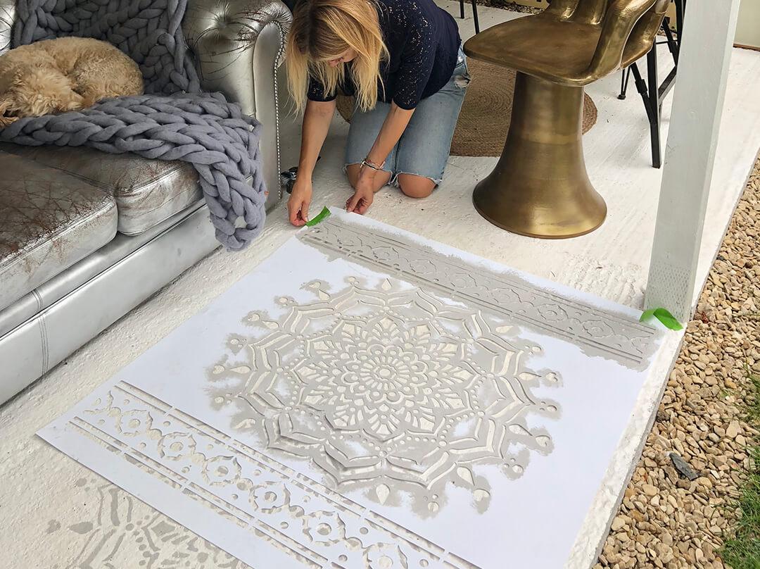 floor stencilling mandala shape