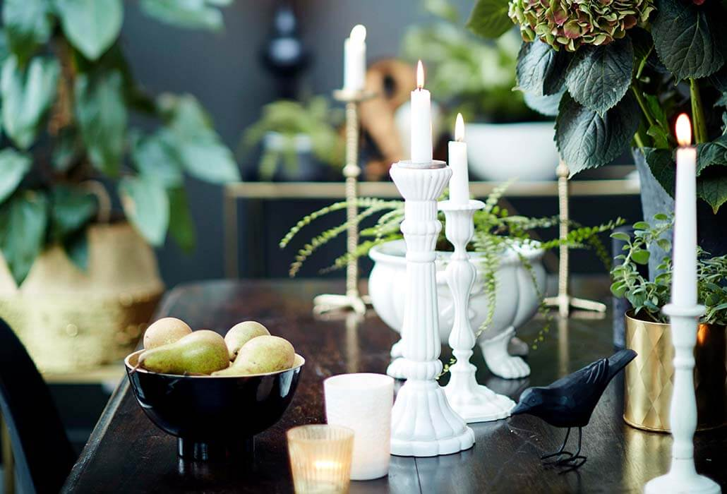 image of a table with candlesticks and tealights