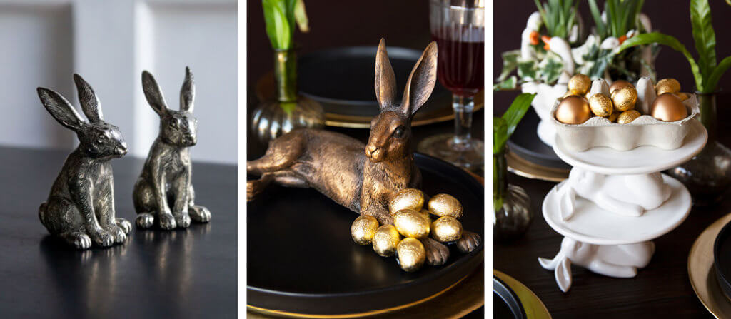 three images of easter bunny table ornaments