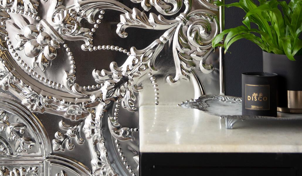 The Filigree Tin Tile - silver tin tile traditional design