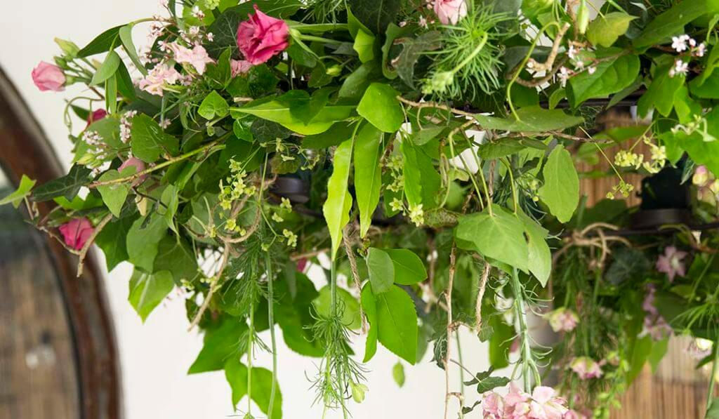 Incredible floral chandelier created by the talented florist Ness.