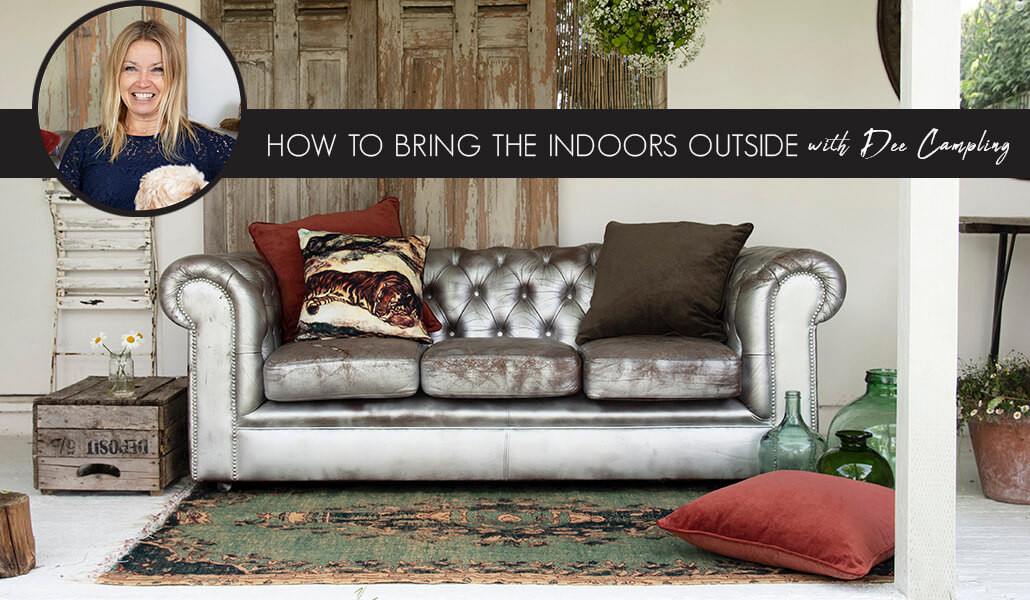 Image of a metallic silver sofa in a living room - How To Bring The Indoors Outside With Dee Campling.