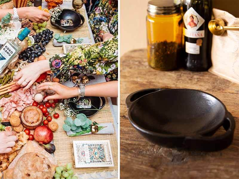 Sophie Beresiner brunch event featuring black tapas dishes by Rockett St George