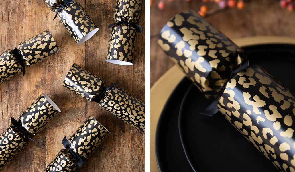 lifestyle grid of leopard print Christmas crackers on the dinner table