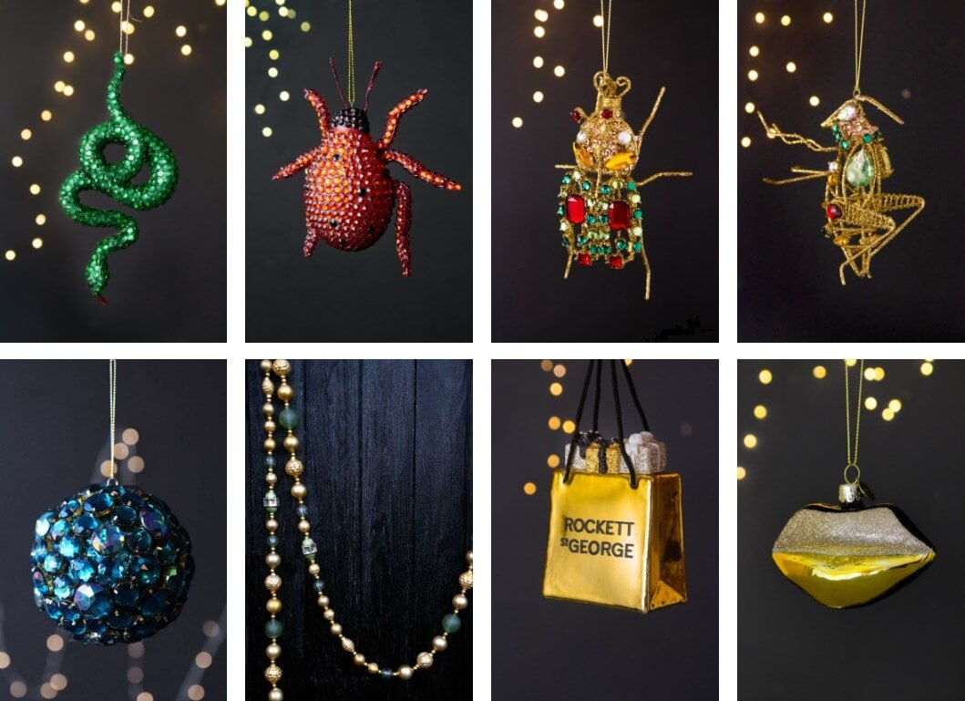 jewel coloured xmas decorations featuring bugs and snakes