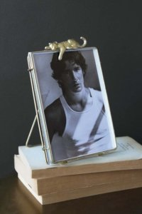 lifestyle image of metal and glass picture frame / photo frame with leopard