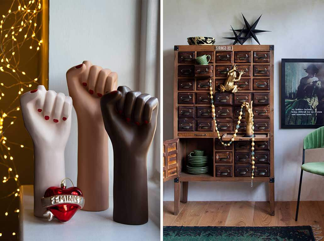 lifestyle grid of girl power hand vases with red feminist bauble and vintage cabinet with Christmas decorations