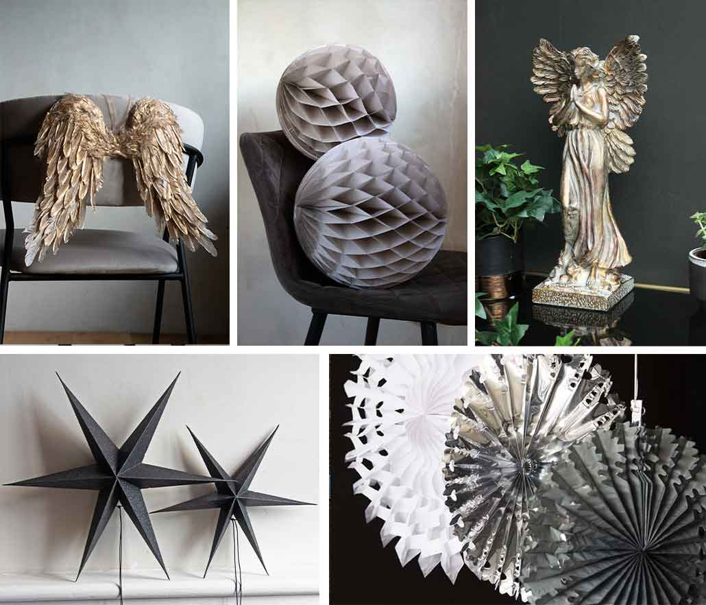 Grey Christmas home decor ideas gold angel wings and big pinwheel decorations