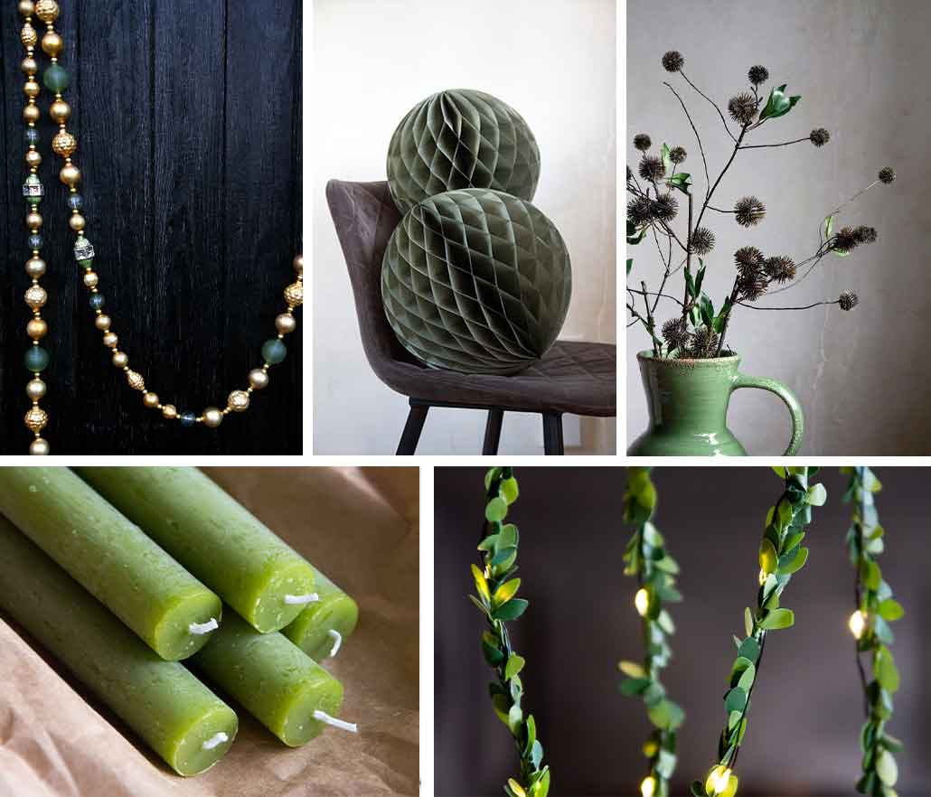Green Christmas decor ideas for the home green candles and green paper decorations