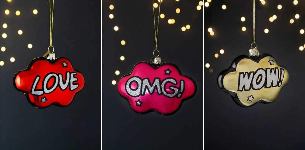 lifestyle grid of comic inspired Christmas tree decorations