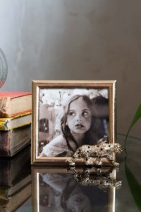 lifestyle image of gold photo framed with a jewelled leopard