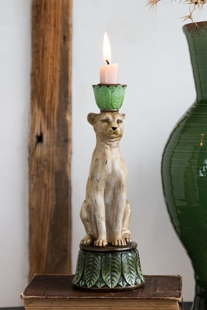 lifestyle image of tropical leopard candle holder for candlesticks