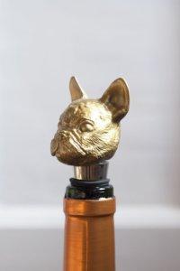 lifestyle image of Novelty Christmas Stocking Fillers Gold Bulldog Bottle Stopper