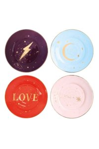 cut out image of set of 4 colourful patterned love and lightning plates