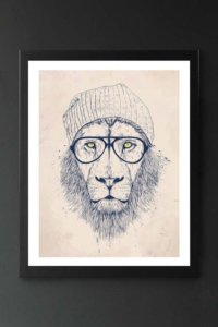 lifestyle image of cool lion art print with lion wearing glasses and a beanie hat