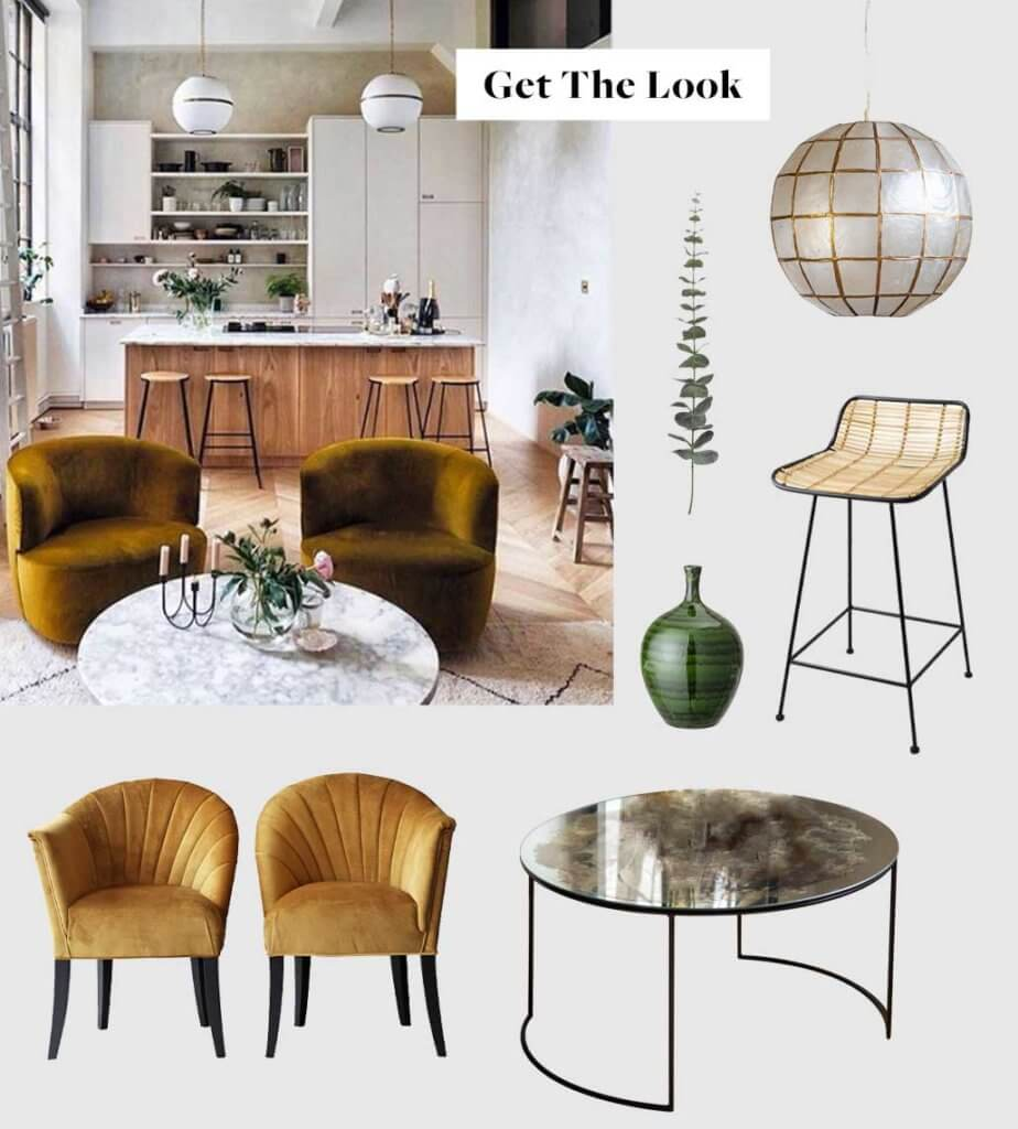 moodboard of a modern kitchen with gold ochre armchairs and a wooden kitchen island.