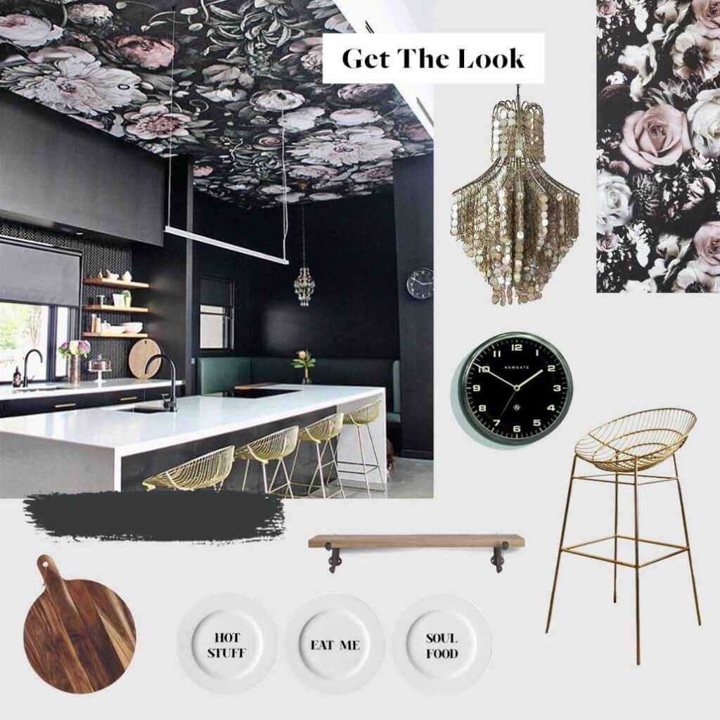 moodboard of a dark kitchen with a floral wallpapered ceiling and golden bar stools around the kitchen island.