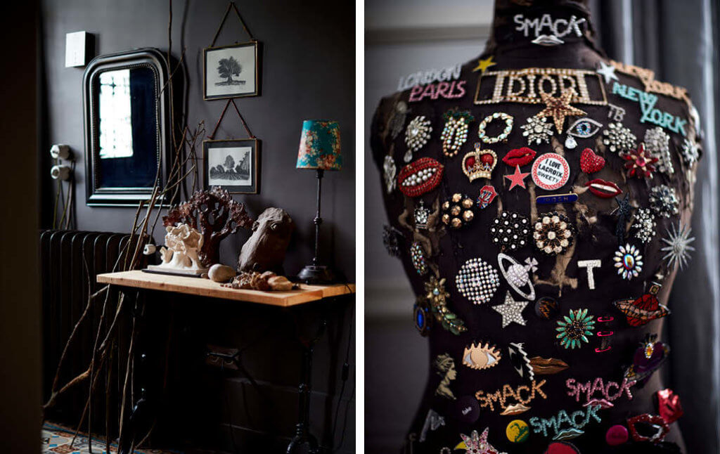 vintage accessories styled in the home