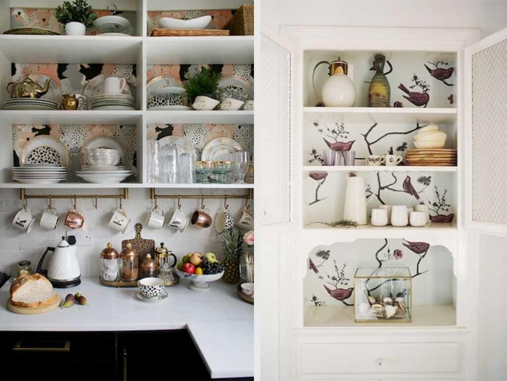 two images of wallpaper behind shelving.