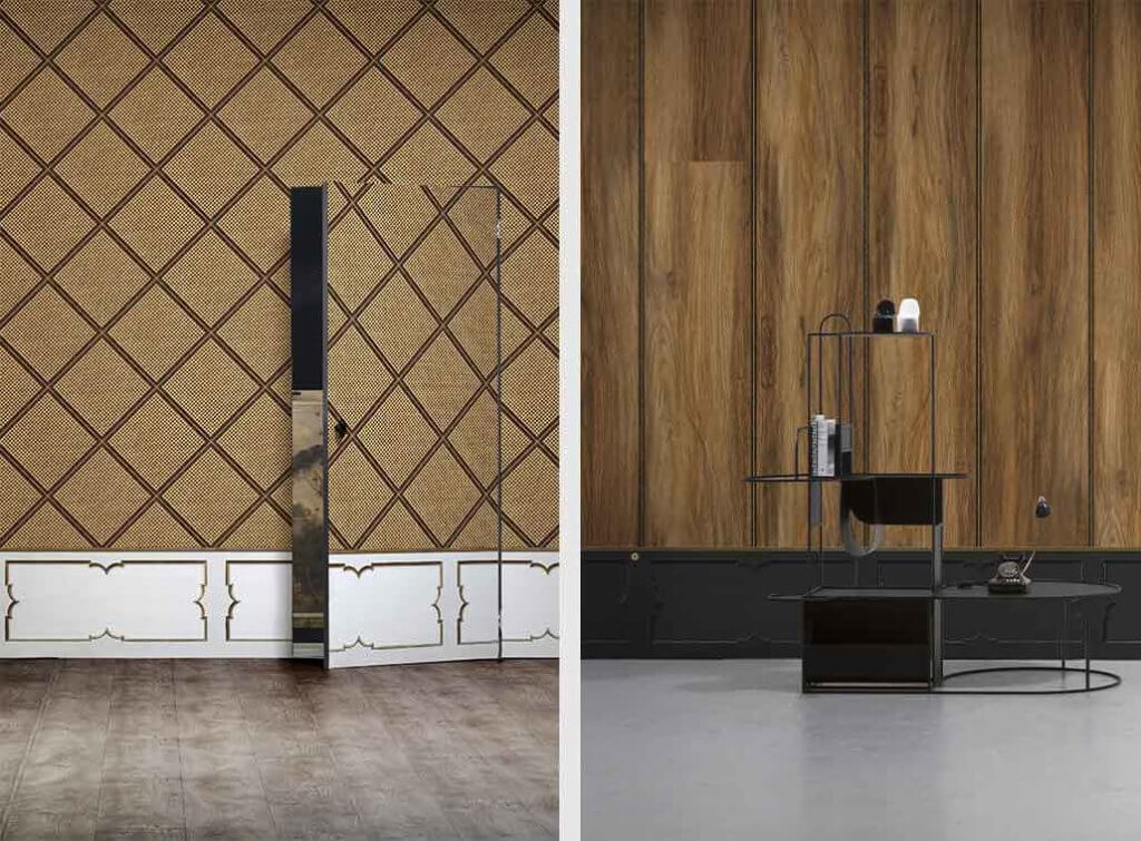 two images of wood effect wallpaper