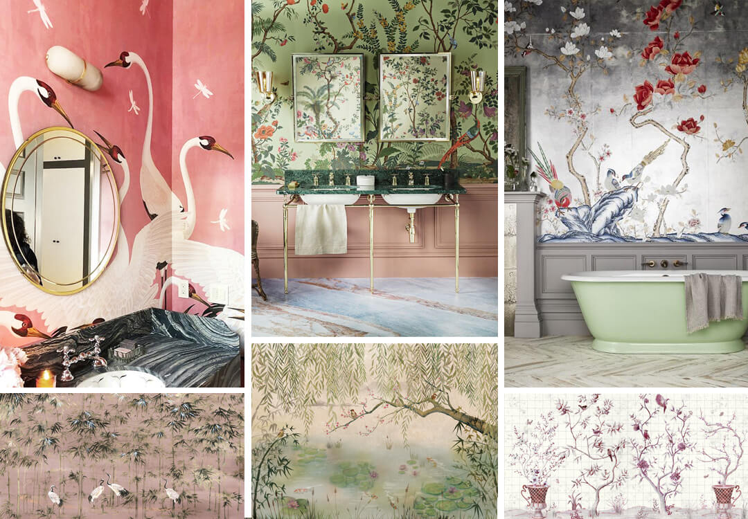 lifestyle image of Chinoiserie bathroom wallpaper ideas