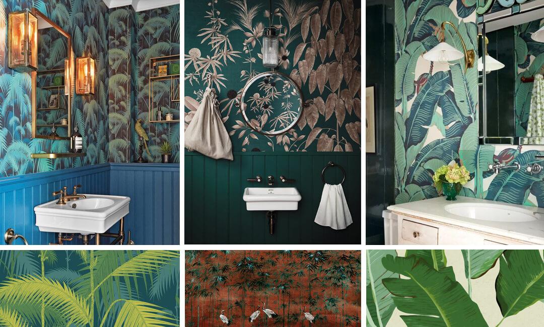 lifestyle image of botanical bathroom wallpaper ideas