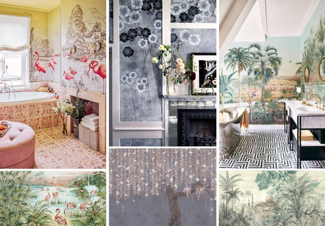 lifestyle image of wall murals in the bathroom