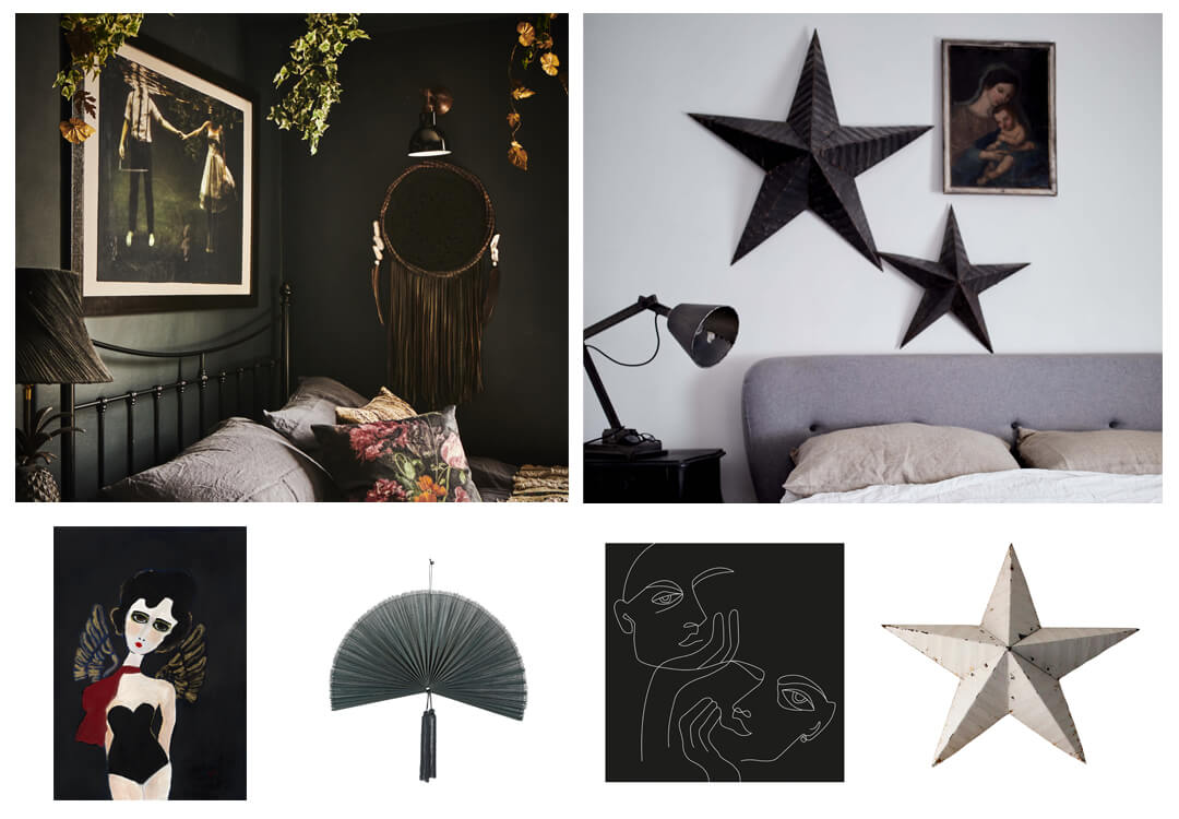 lifestyle image of bedroom artwork and accessories