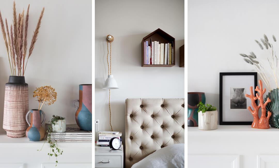 lifestyle image of bedroom wall shelf styling