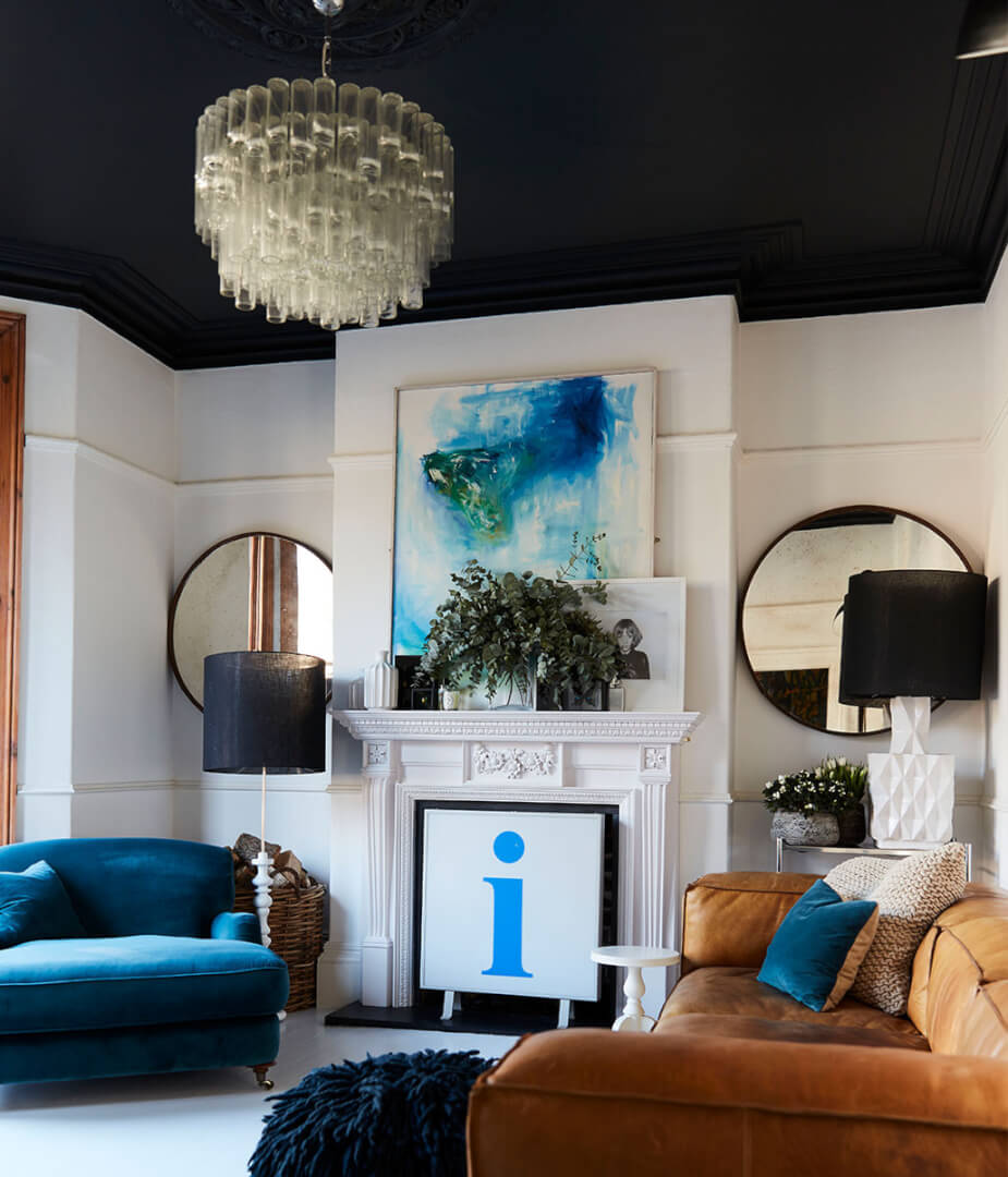 White living room with black ceiling