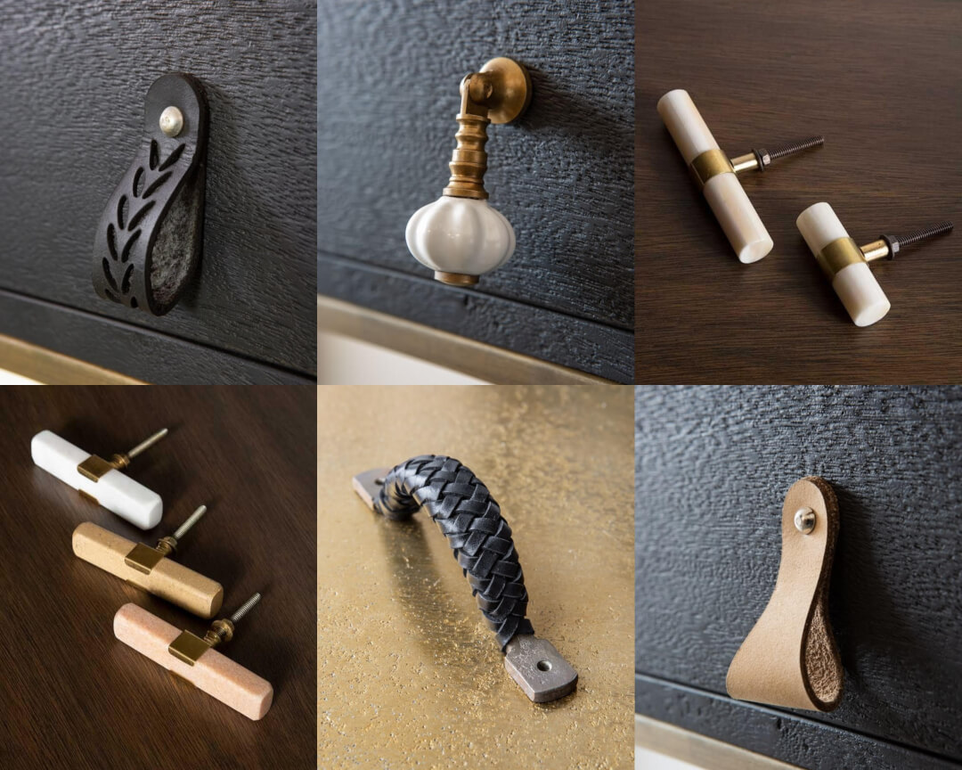 Selection of door handles in marble & leather