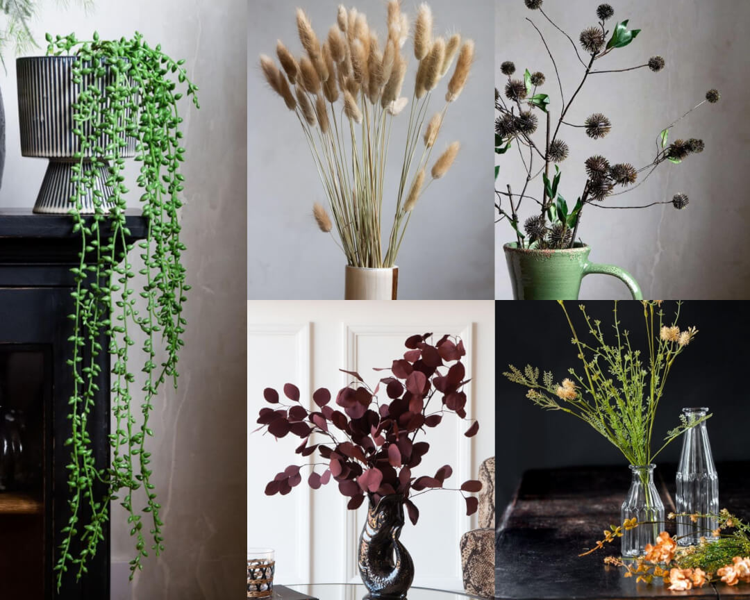 Selection of faux plants