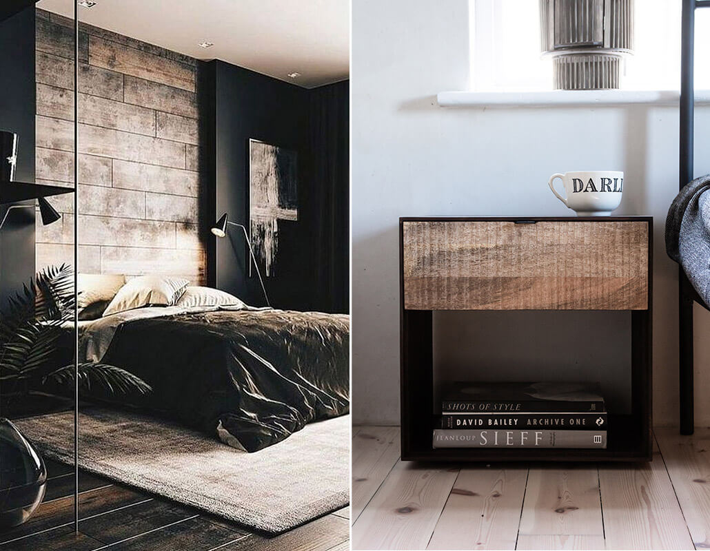 Industrial style mens bedroom decor