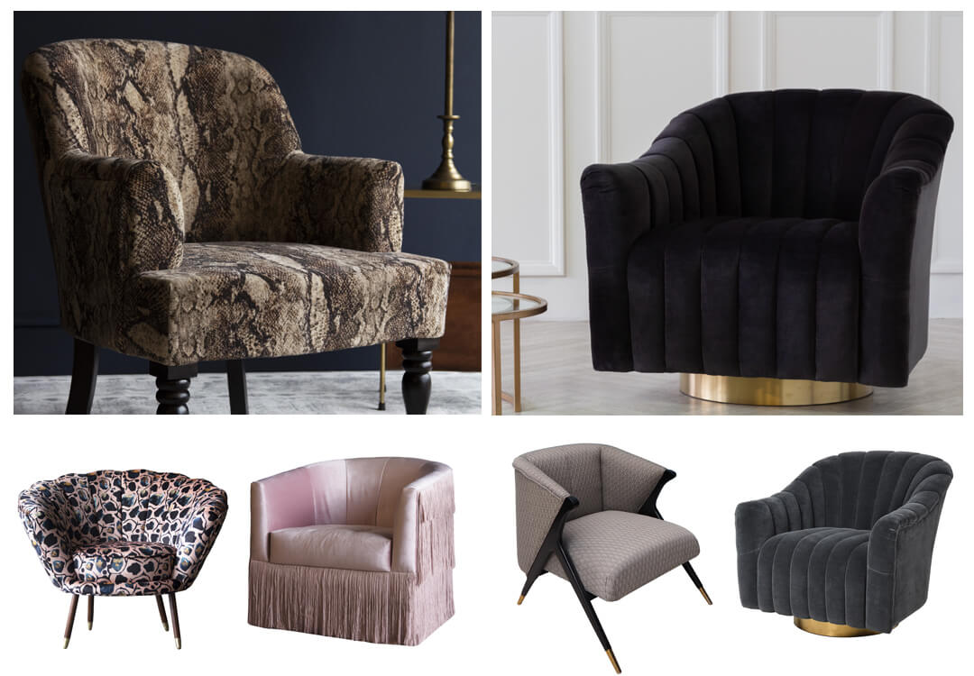 lifestyle grid of armchairs for the bedroom