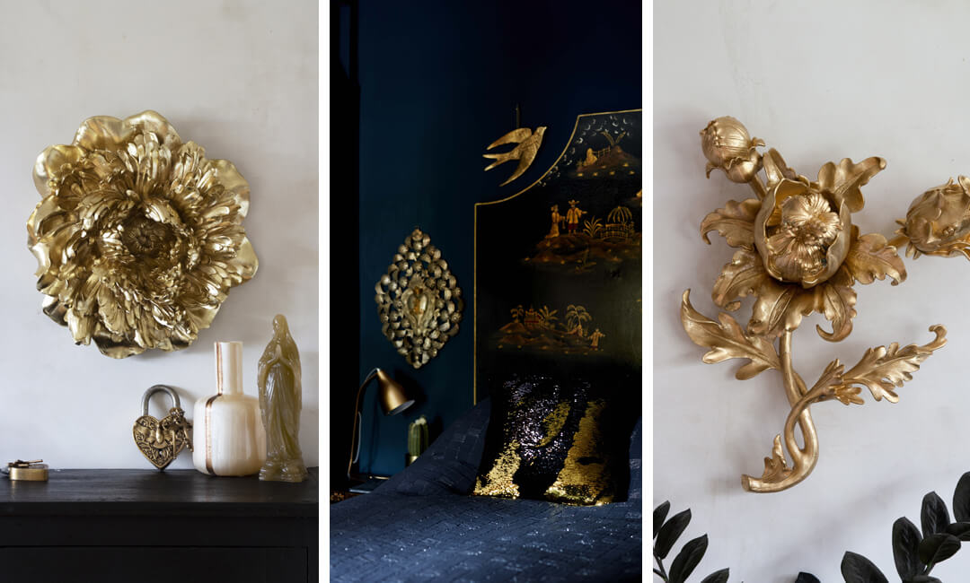 lifestyle image of gold bedroom wall decor ideas