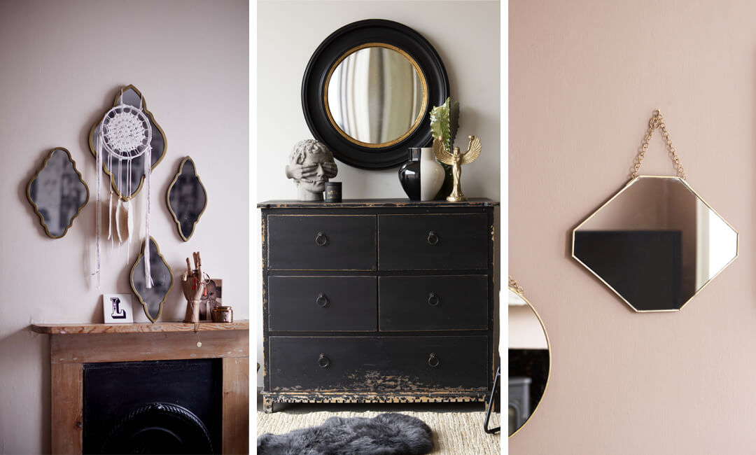 lifestyle image of bedroom wall mirrors