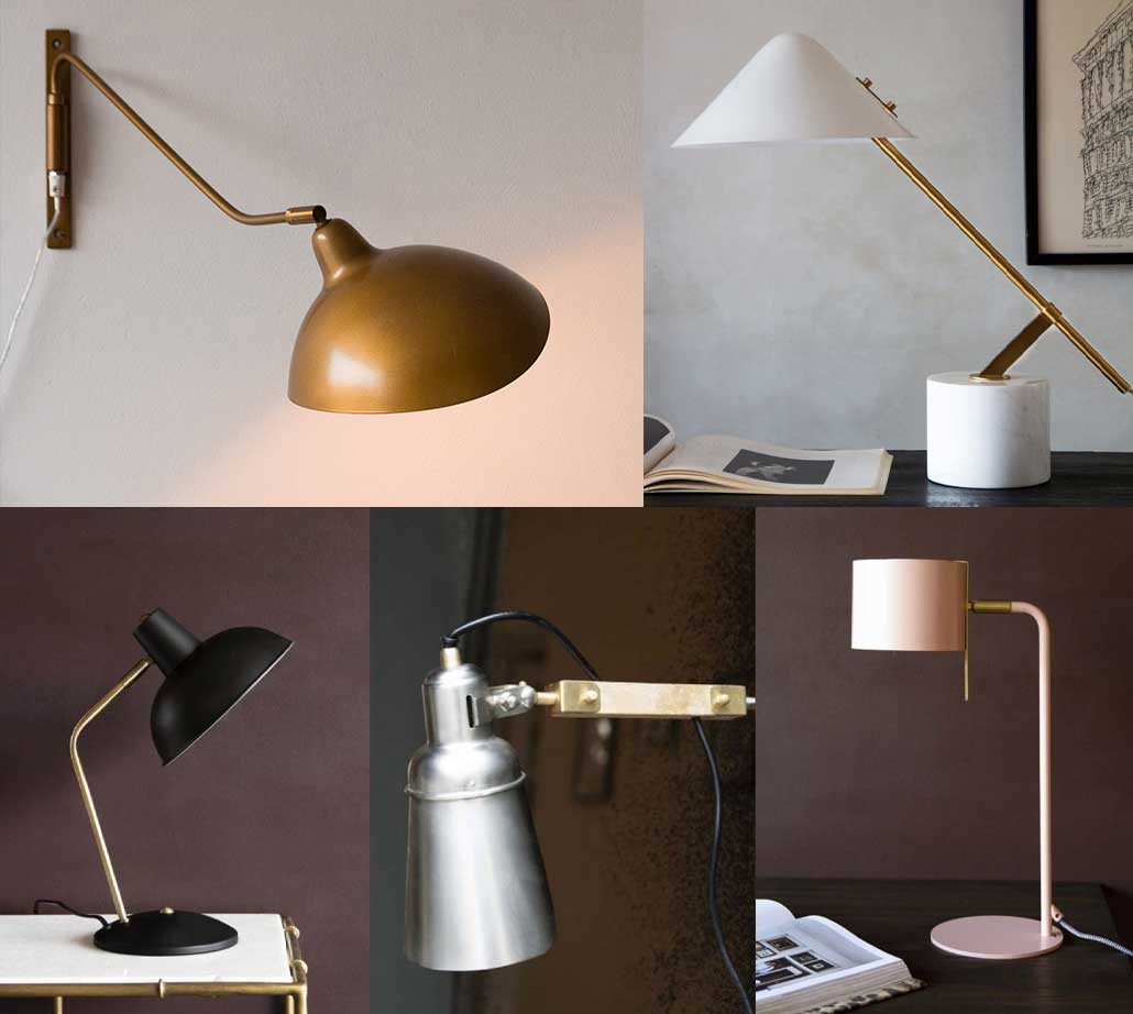 Selection of desk lamps for a home office