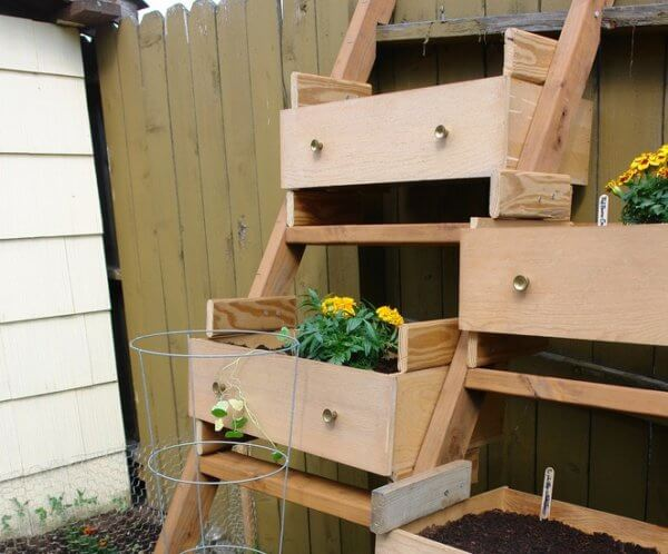 Recycled furniture, box planter from chest of drawers