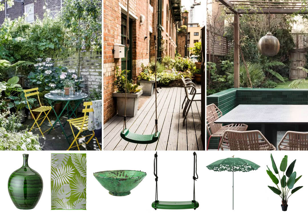 lifestyle grid image of green garden colour schemes