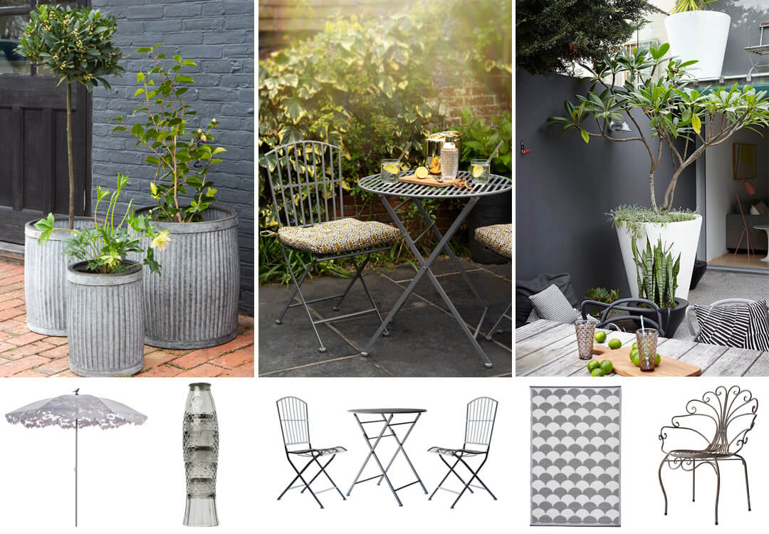 lifestyle and product images of glamorous grey courtyards