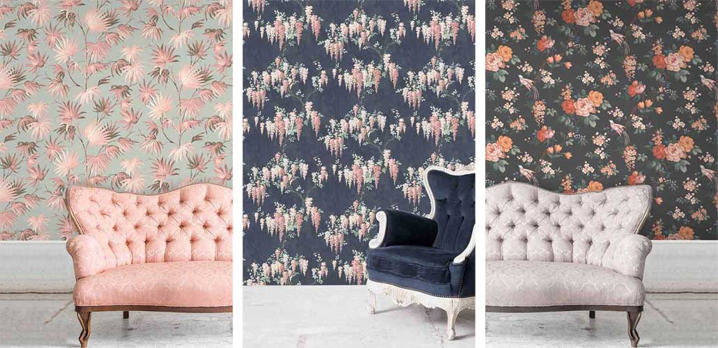 Selection of floral wallpaper