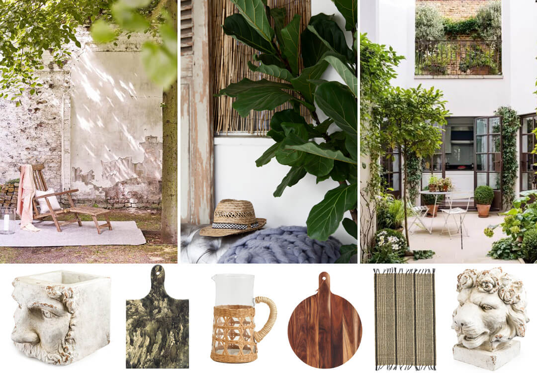 lifestyle grid image of natural garden colour schemes and products