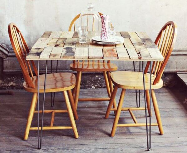 Garden dining table made with recycled wood