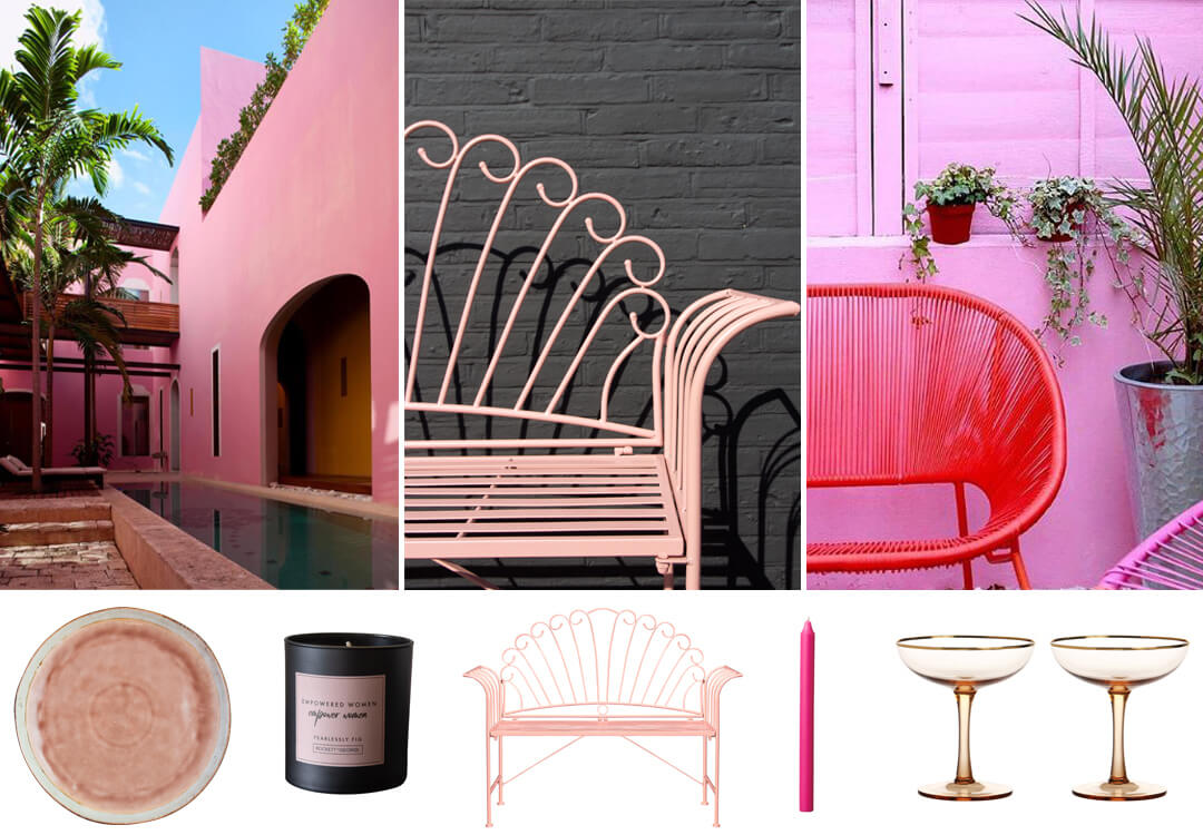 lifestyle grid image of pink garden furniture and ideas