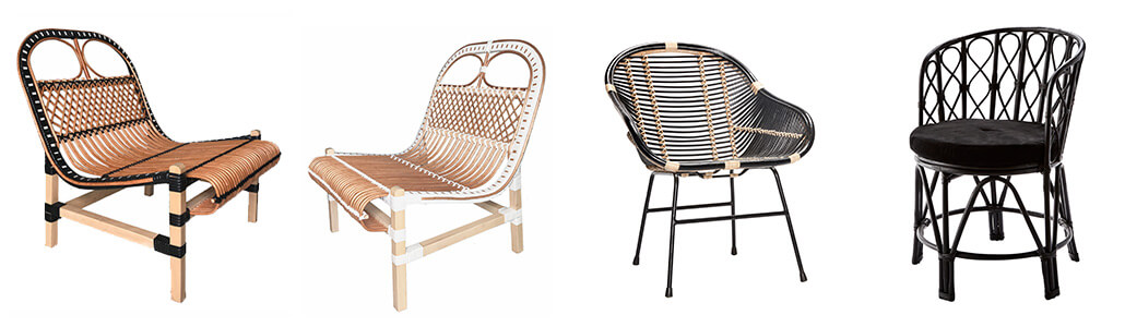 Rattan and bamboo chairs for the garden