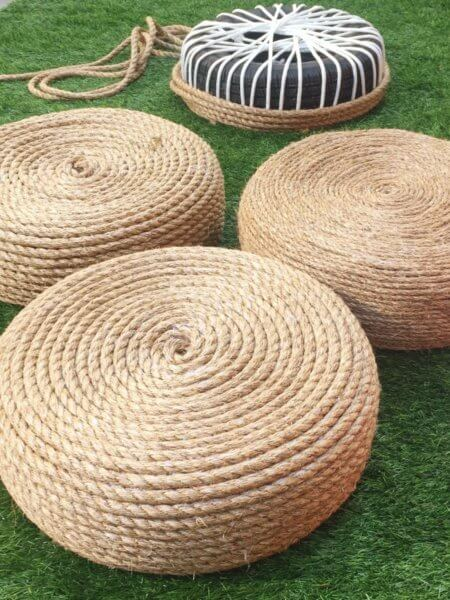 Ottomans for the garden using old tyre and rope