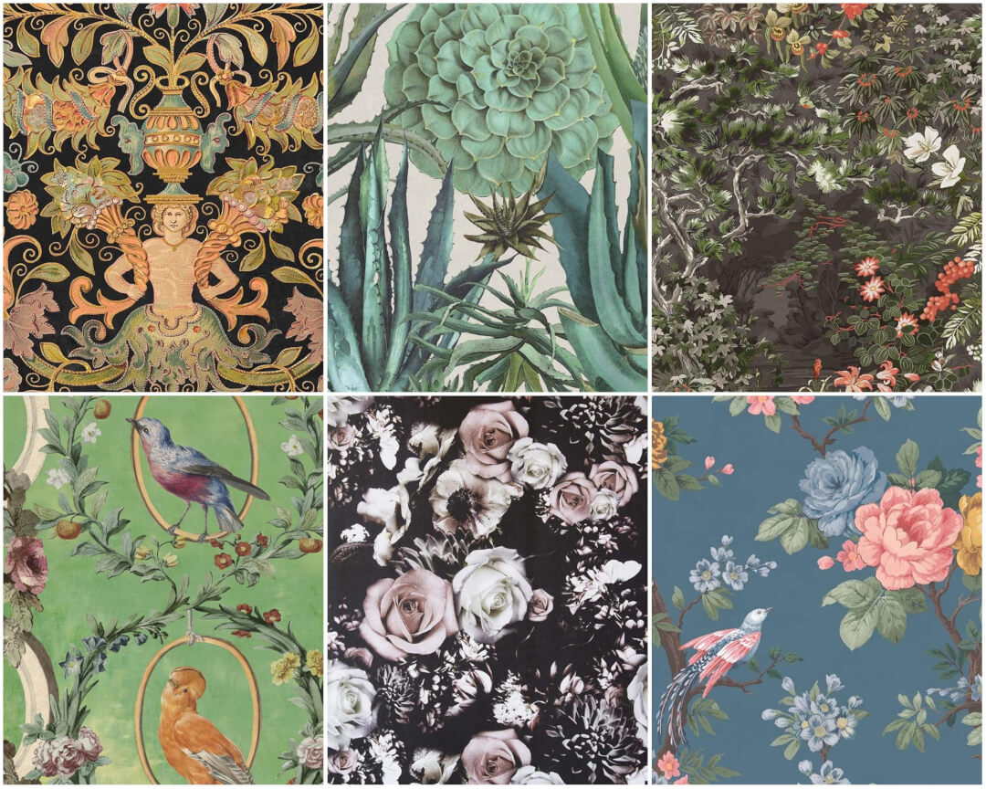 Selection of floral wallpapers